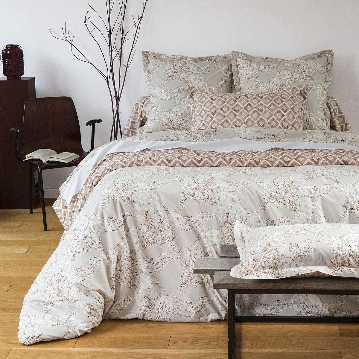 Housse de Couette Cachemire 240 x 220 cm Imprim/é Traditionnel 100/% Coton Percale 80 Fils Beige Fonce