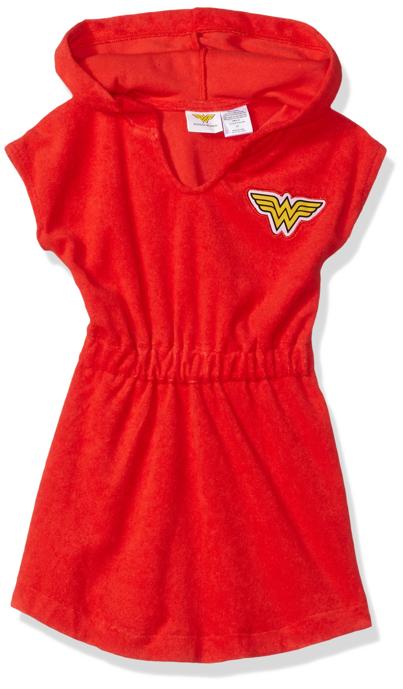 Dreamwave Toddler Girls' Wonder Woman Hooded Cover up, Candy, 3T