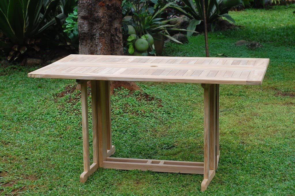 Amazon Com Premium Grade A Teak Rectangular 59 X31 Dropleaf Table Use W 1 Leaf Up Or 2 Makes 2 Different Tables 5 Yr Wrty World S Best Outdoor Furniture Teak Lasts A Lifetime Assembled