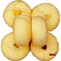 M.G 100% Acrylic Wool Cream Baby Soft Wool Ball Hand Knitting Wool/Art Craft Soft Fingering Crochet Hook Yarn, Needle Knitting Yarn Thread Dyed