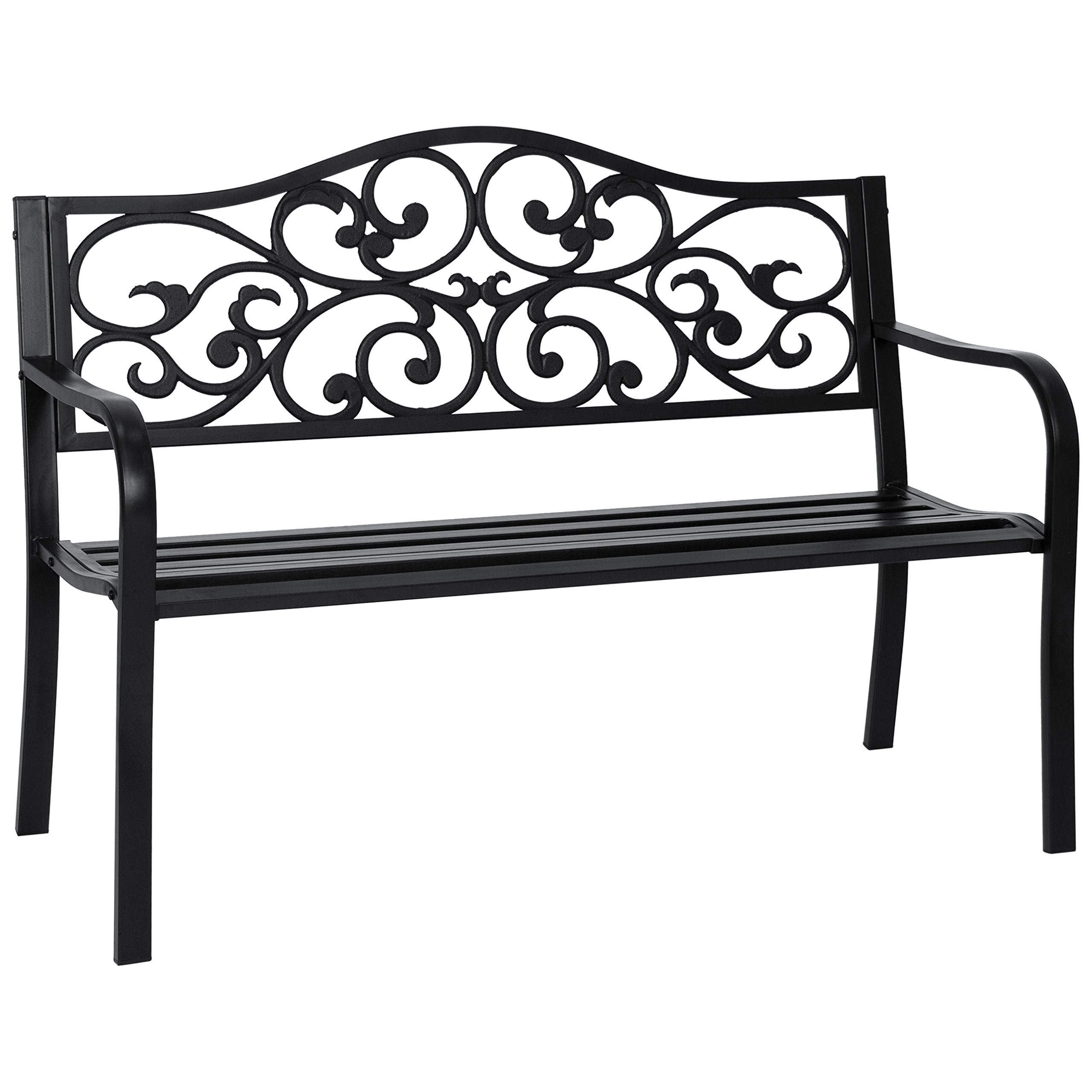Best Choice Products Classic Metal Patio Garden Bench w/Decorative Floral Scroll Design - Black