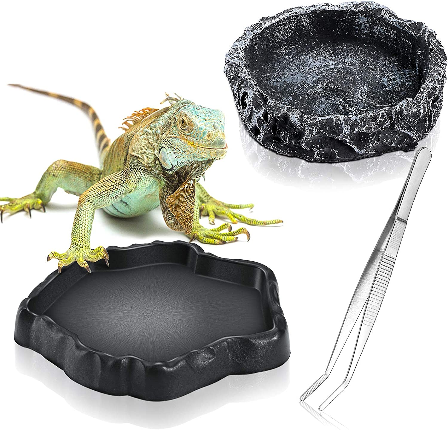 3 Pieces Reptile Water Dish Food Bowl Set Includes 2 Resin Reptile Rock Bowl Food Feeder Bowl Water Bowl 1 Feeding Tweezer Tong Reptile Rock Feeder for Pet Tortoise Lizard Frog Gecko Snake Chameleon