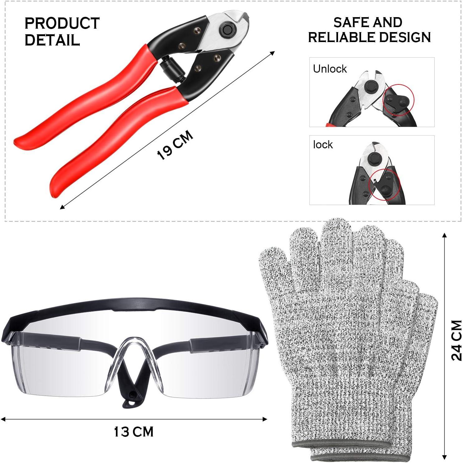 Tagliafili per Cavi Acciaio Cavo Metallico per Impieghi Gravosi con Testa di Molatura Diamanta Taglierina per Ringhiere del Ponte con Occhiali Protettivi e Guanti Resistenti al Taglio