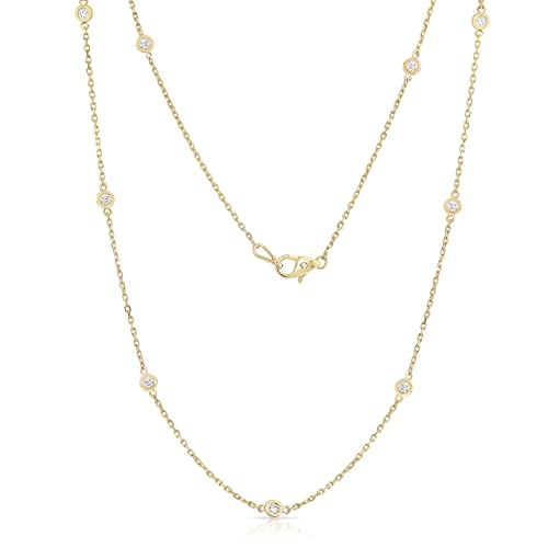 Noray Designs 14K Yellow Gold Diamond by the Yard 10 Station Necklace (1 Ct, G-H, SI2-I1), 18 Inches
