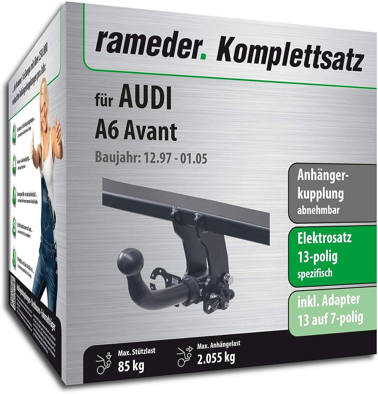112769-03395-1 Anh/ängerkupplung abnehmbar Rameder Komplettsatz 13pol Elektrik f/ür Audi A6 Avant
