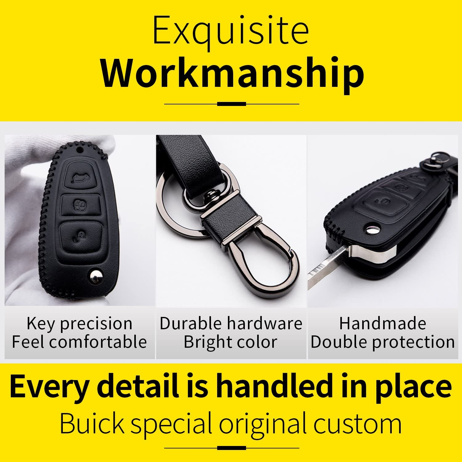 Cover Shell Fob Leather Case with Keyring for Key Ford Fiesta Focus Galaxy Fusion S-Max Kuga Ecosport Chiave Key 3 Buttons Protection Remote Control Car