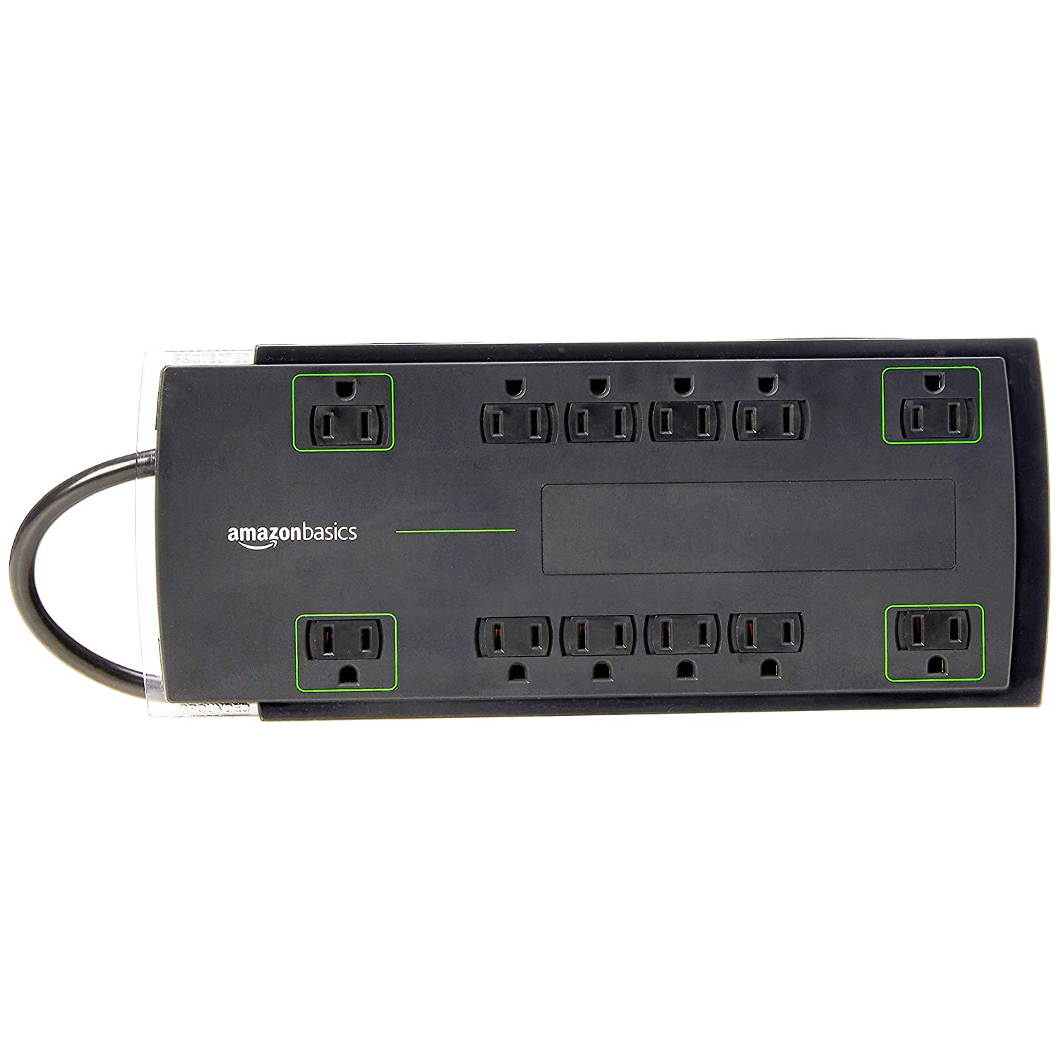 AmazonBasics 12-Outlet Surge Protector | 4,320 Joule, 8-Foot Cord (Renewed)