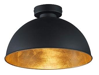 Reality Leuchten Deckenleuchte Jimmy, 1 x E27 ohne Leuchtmittel, Durchmesser 31 cm, Außen schwarz, Innen goldfarbig, R6012100