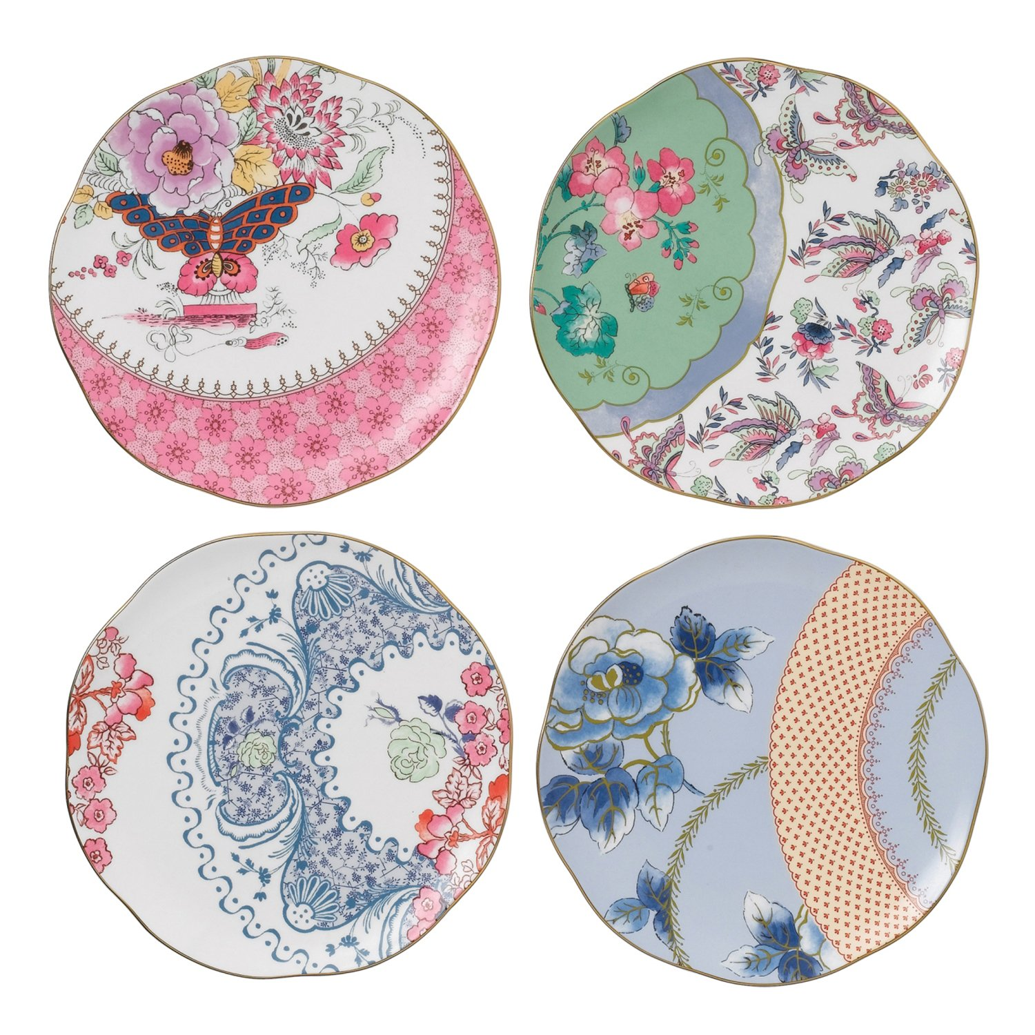 Wedgwood Harlequin Butterfly Bloom Plates, 8.25-Inch, Set of 4