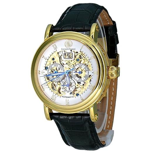 Constantin Durmont Skeleton - Reloj analógico de caballero automático con correa de piel negra - sumergible a 30 metros: Amazon.es: Relojes