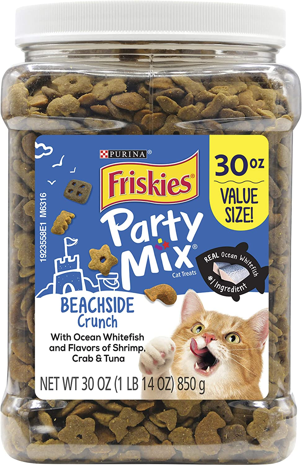Friskies Party Mix Adult Cat Treats Canisters – Real Ocean Whitefish #1 Ingredient