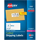 Avery Mailing Labels with TrueBlock Technology for Laser Printers, 2 x 4 inches, 10-Up, White, Box of 1000 (5163)