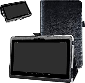 """iRULU X37 Case,Bige PU Leather Folio 2-Folding Stand Cover for 7"""" iRULU X37 Android 8.1 Tablet,Black"""