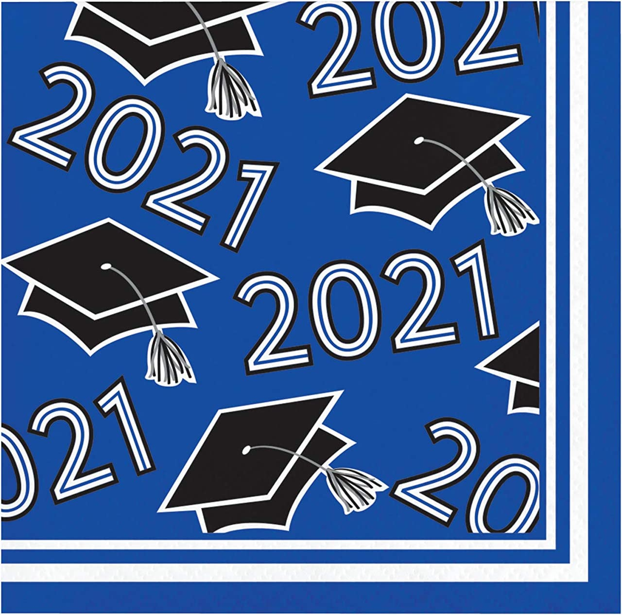 Creative Converting Cobalt Blue 2021 Grad Beverage Napkins, 5