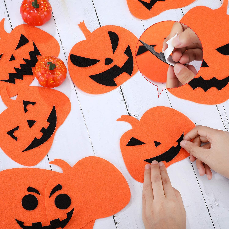 182 Pieces Halloween Pumpkin Decorating Craft Kit Halloween Pumpkin Stickers DIY Halloween Party Decoration Props Pumpkin Face Stickers Halloween Pumpkin Crafts Decorations