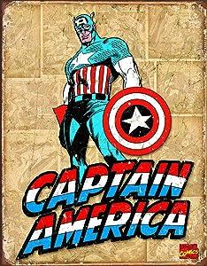 "Desperate Enterprises Captain America Retro Panels Tin Sign, 12.5"" W x 16"" H"