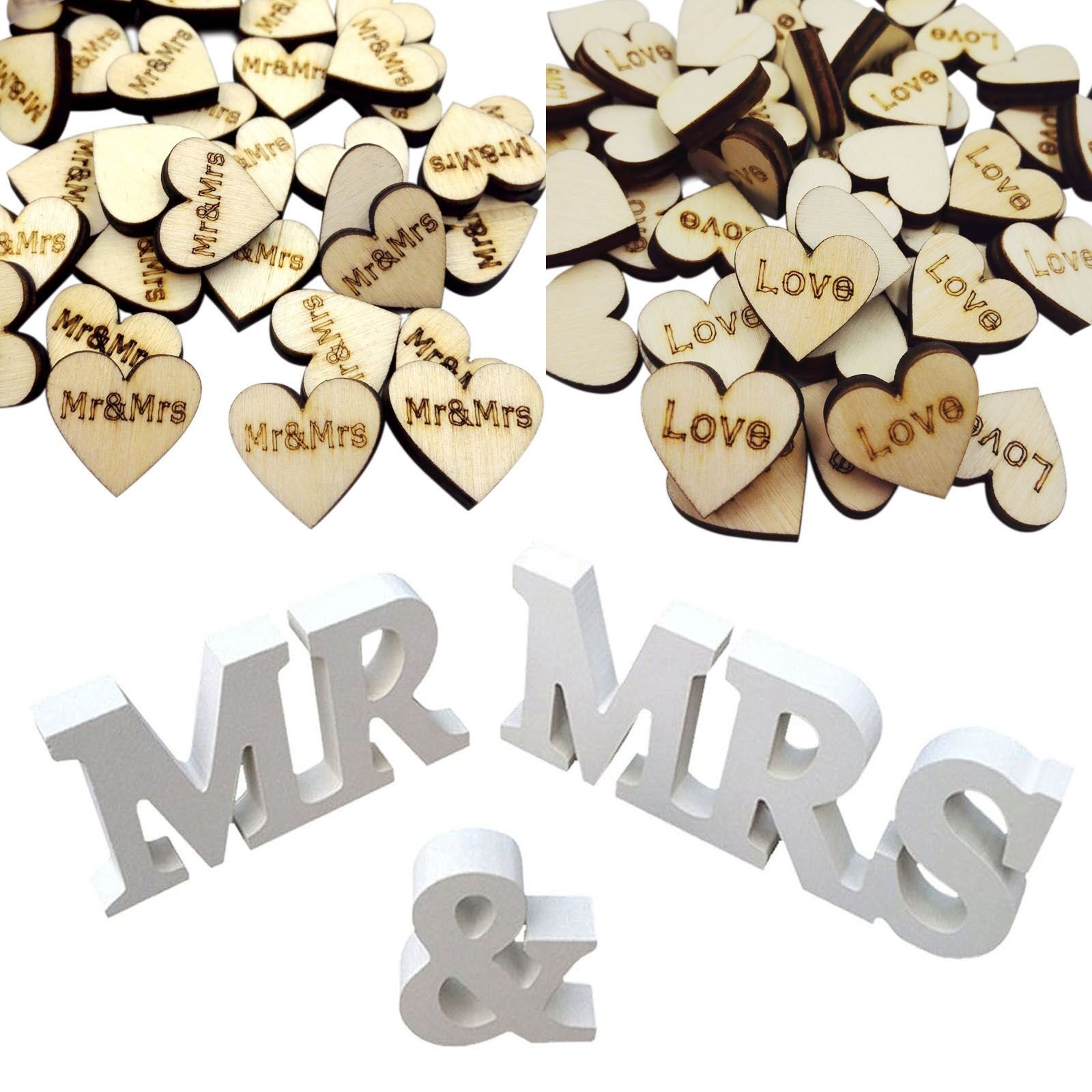Mr and mrs sign large rustic wedding decorations ilovecos wedding 100 pieces rustic wooden letters mr and mrs love size of the small ones approx 08 inch in height rustic style mini hearts for the wedding table junglespirit Image collections