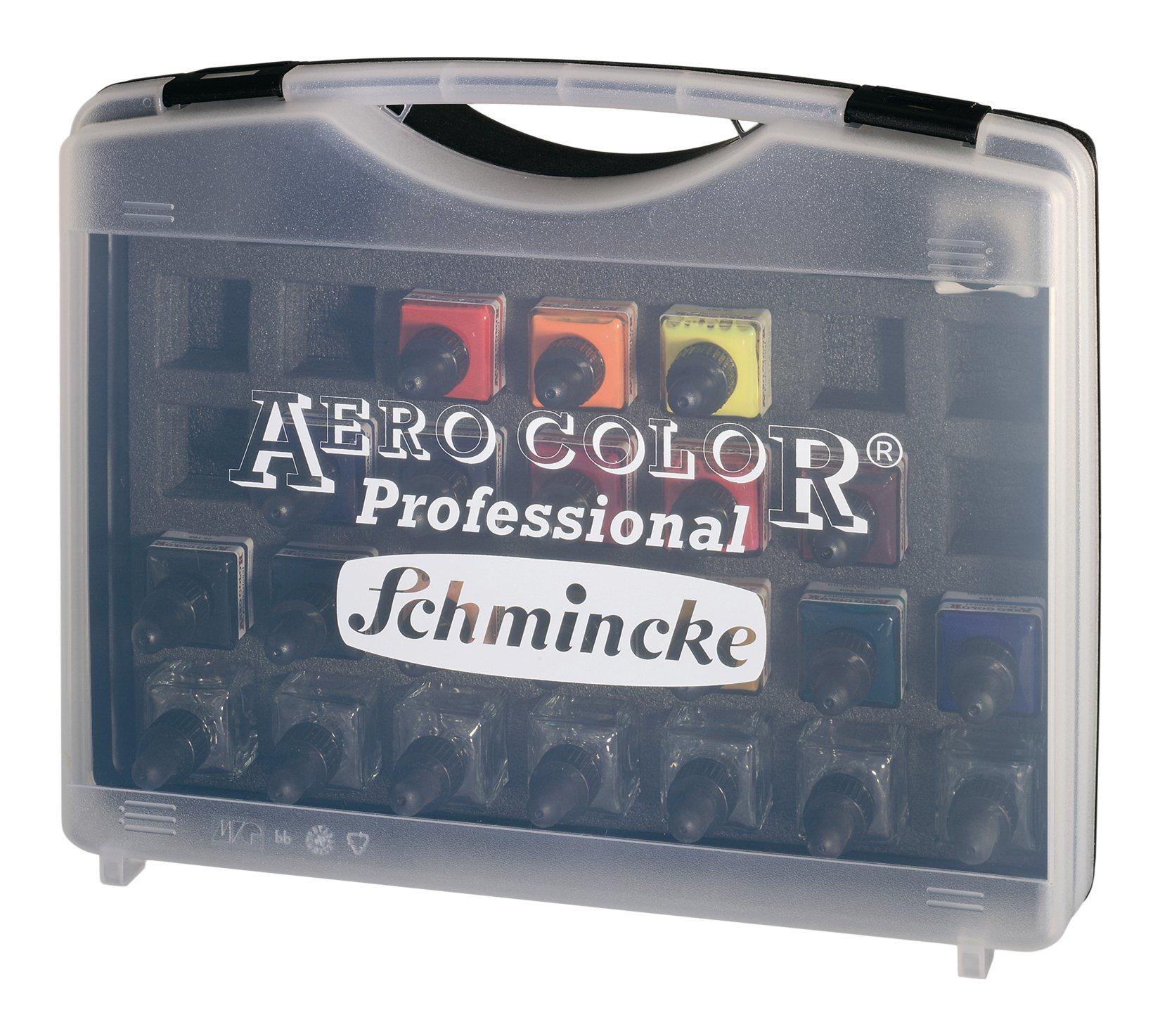 Schmincke Aero Color Professional Airbrush Ink Set in Plastic Case, 28ml Bottles, 16-Color Set, 1 Set Each (81124097)