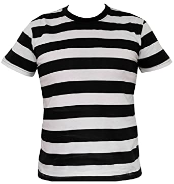 0cad7f1ed56 Rock Star Academy Black and White Striped T-Shirt (X Large)  Amazon.co.uk   Clothing