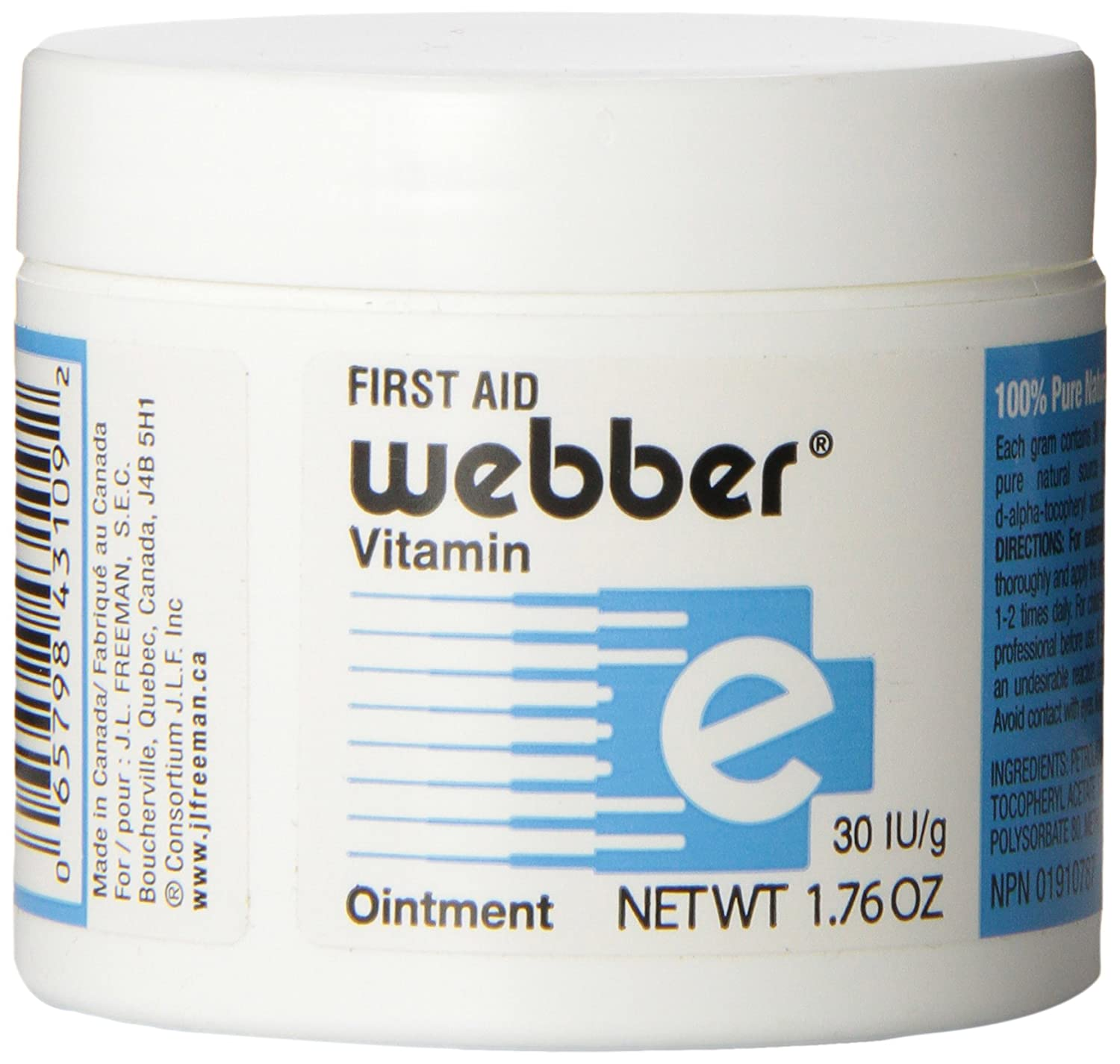 Webber Natural First Aid Ointment, Protects against Infections and Provides fast healing with Vitamin E to fight Scars from Cesarean and Cuts, Burns from Tattoos, Wrinkles, Acne and Very Dry Skin