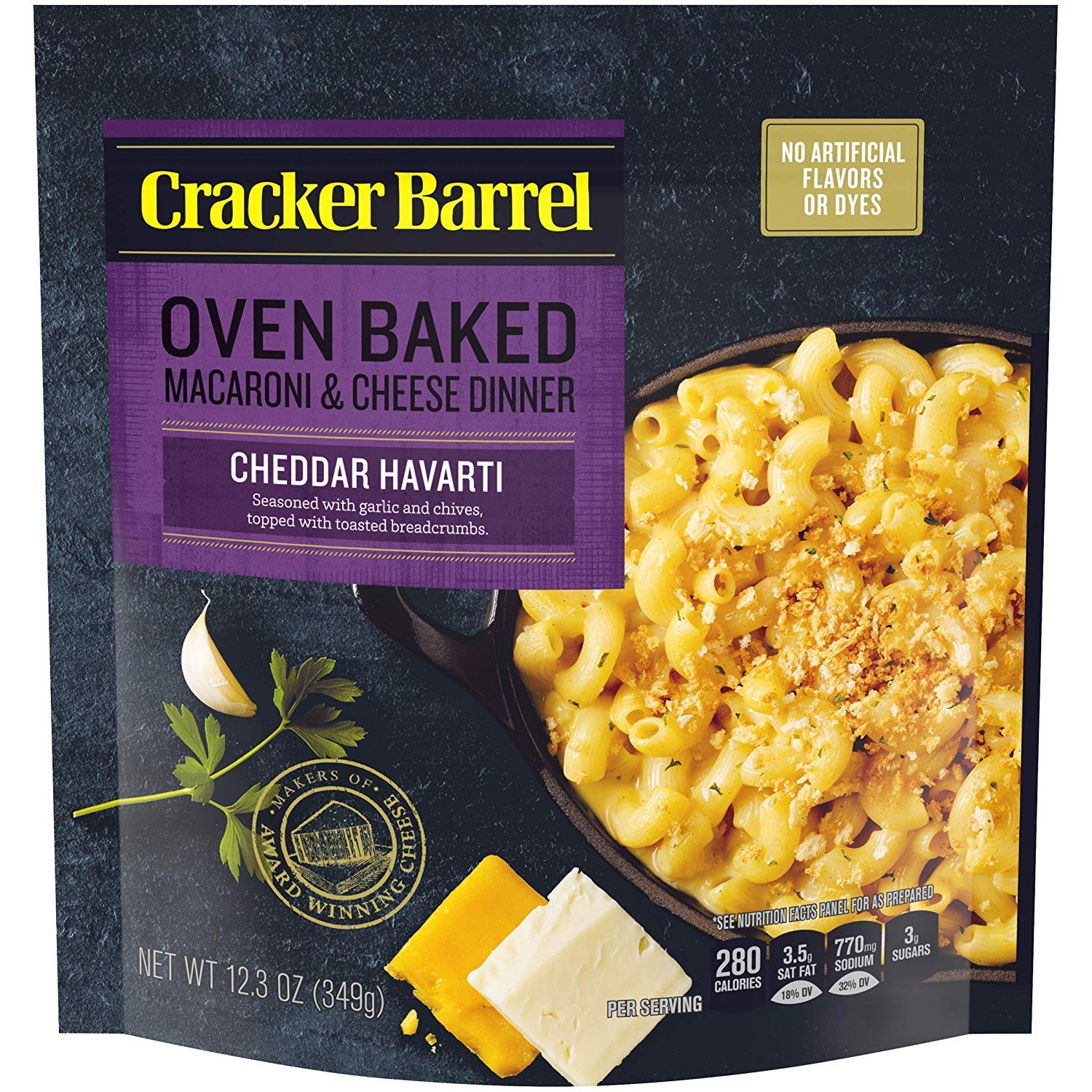 Cracker Barrel Oven Baked Havarti Macaroni and Cheese Dinner, 12.3 oz Pouch (4)