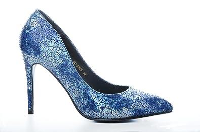 Blue Shiny Pointed Toe Stiletto Wedding Metallic High Heel Bridal Shoes