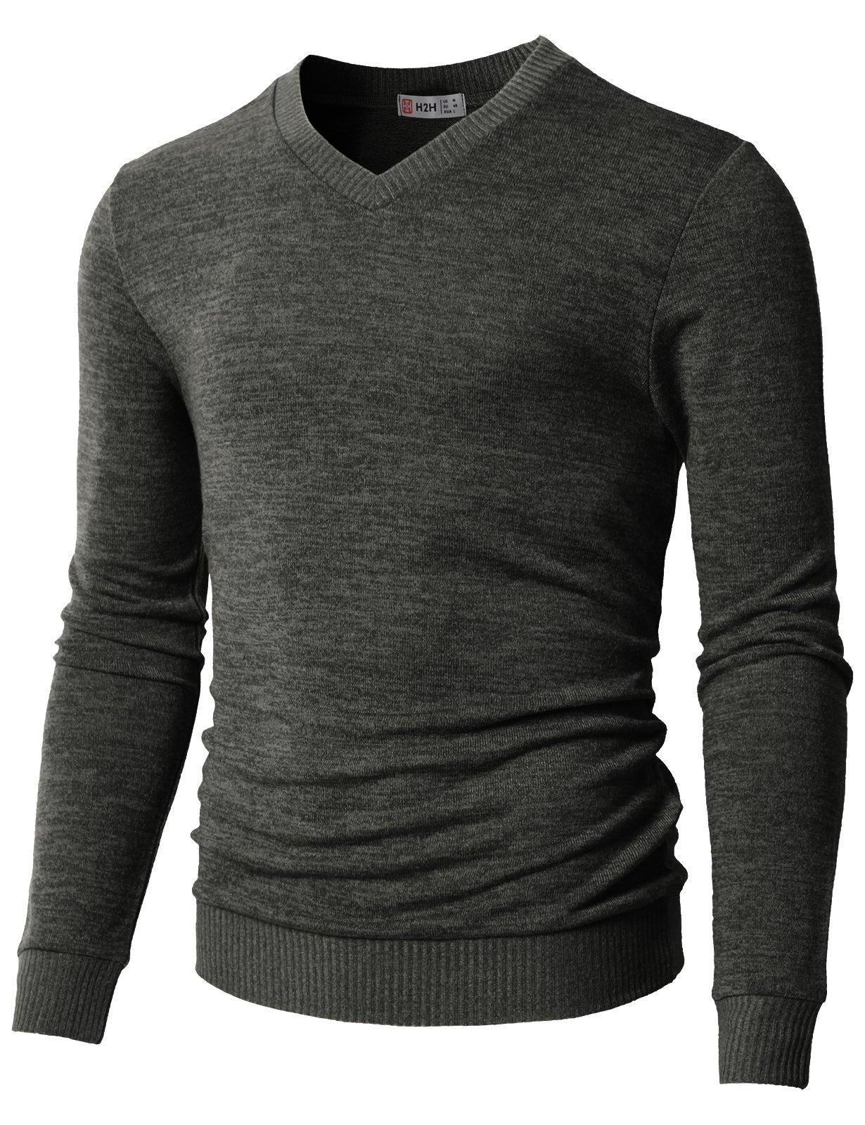 H2H Men's Quarter Zip Marled Sweater Charcoal US M/Asia L (CMOSWL018)