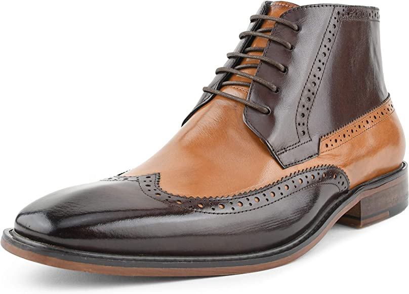 Genuine Leather Wingtip Boots for Men