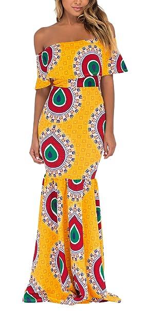 Vestido Coctel Mujer Largos Elegantes Festliche Barco Cuello Sin Tirantes Espalda Descubierta Casual Vestido Ajustado Vestido Sirena Amarillos Moda Swing ...