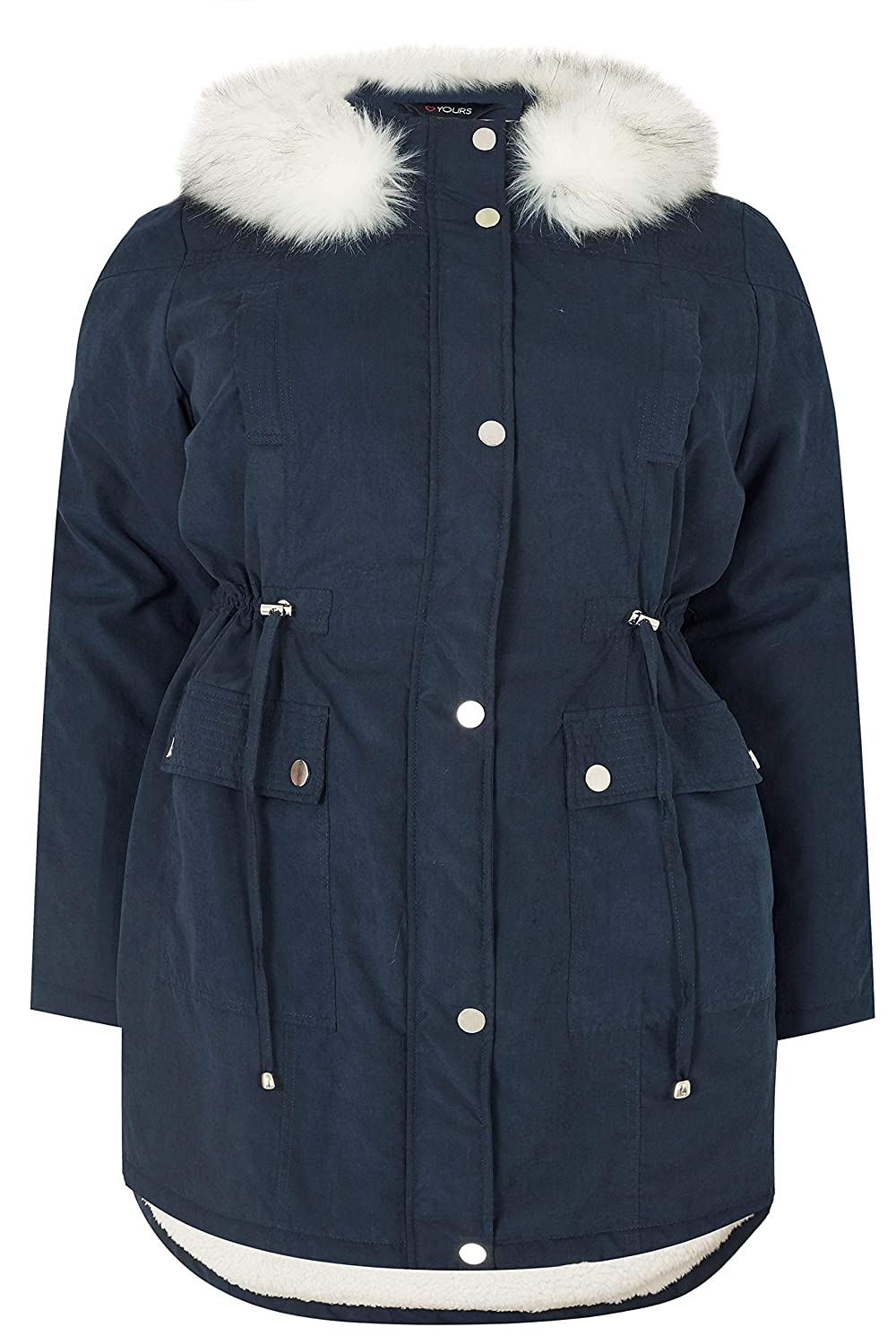 Yours Clothing Womens Plus Size Lined Parka with Faux Fur Trim Hood