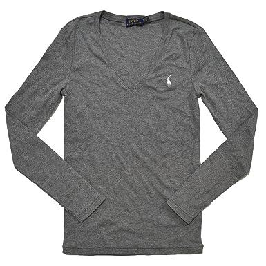 promo code d3ce7 de6a6 Ralph Lauren Polo Damen Langarmshirt Longsleeve Shirt Grau ...