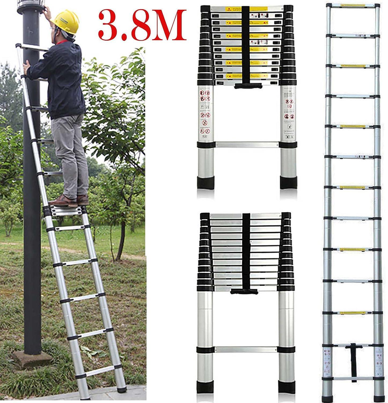 Multi-purpose 3,8 m escalera telescópica de aluminio DIY extensión ampliar Rolling Medidas 150 kg: Amazon.es: Bricolaje y herramientas
