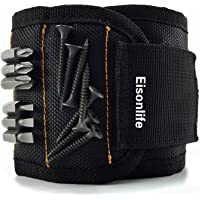 Magnetic Wristband (1 Pack) with Strong Magnets for Holding Screws, Nails, Drill Bits - Best Unique Tool Gift for DIY Handyman, Father/Dad, Husband, Boyfriend, Men, Women (Black) by Eisonlife
