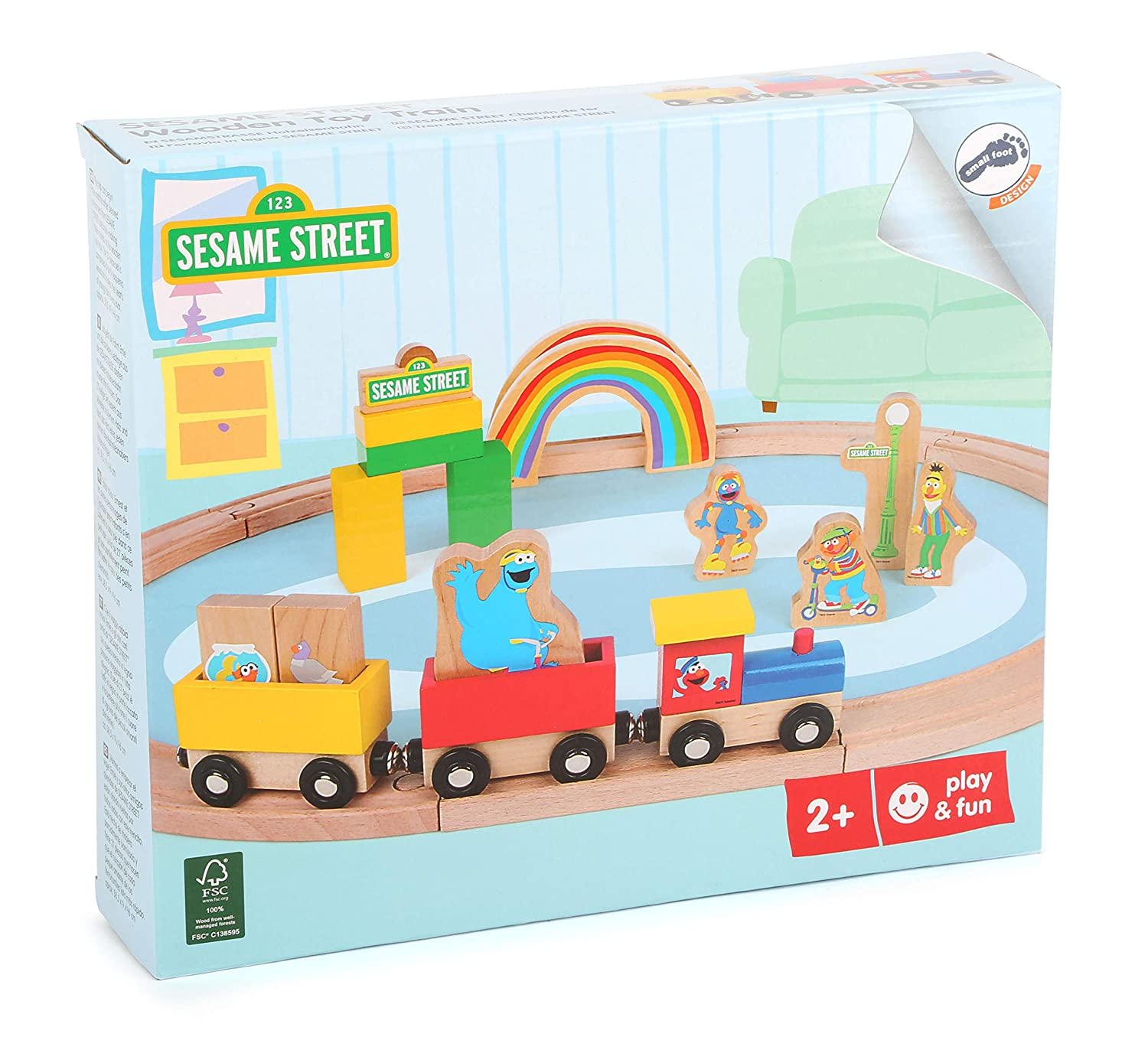 Small Foot 10964 Sesame Street Set Incl combinable with Other Wooden Toy Train Systems 100/% FSC-Certified Exclusively Brand Multicolour Accessories and Figurines