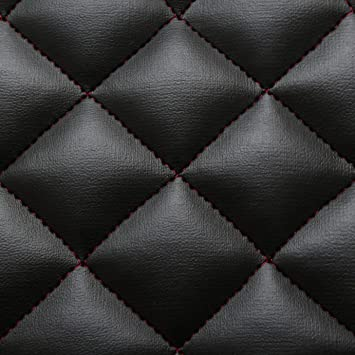 Black Red Stitch Diamond Quilted Faux Leather Car Interior ... : quilted leather material - Adamdwight.com