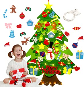 Outgeek Felt Christmas Tree 3.2ft DIY Wall Hanging Xmas Tree with 32 pcs Ornaments and 50 LEDs String Lights Christmas Decoration for Children