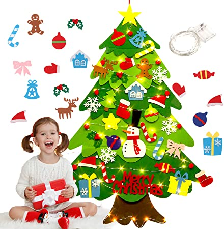 Albero Di Natale X Bambini.Justdolife Feltro Albero Natale 3 2ft Albero Di Natale Con 50 Luci A Led 32 Staccabili