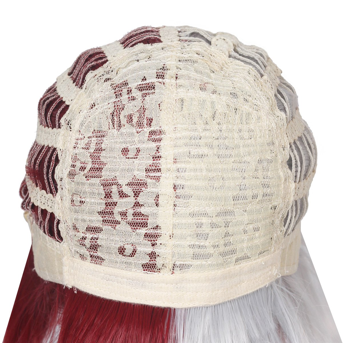 ColorGround Half Silver White Half Red Cosplay Wig for Halloween