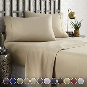 HC COLLECTION Hotel Luxury Comfort Bed Sheets Set, 1800 Series Bedding Set, Deep Pockets, Wrinkle & Fade Resistant, Hypoallergenic Sheet & Pillow Case Set(King, Taupe)