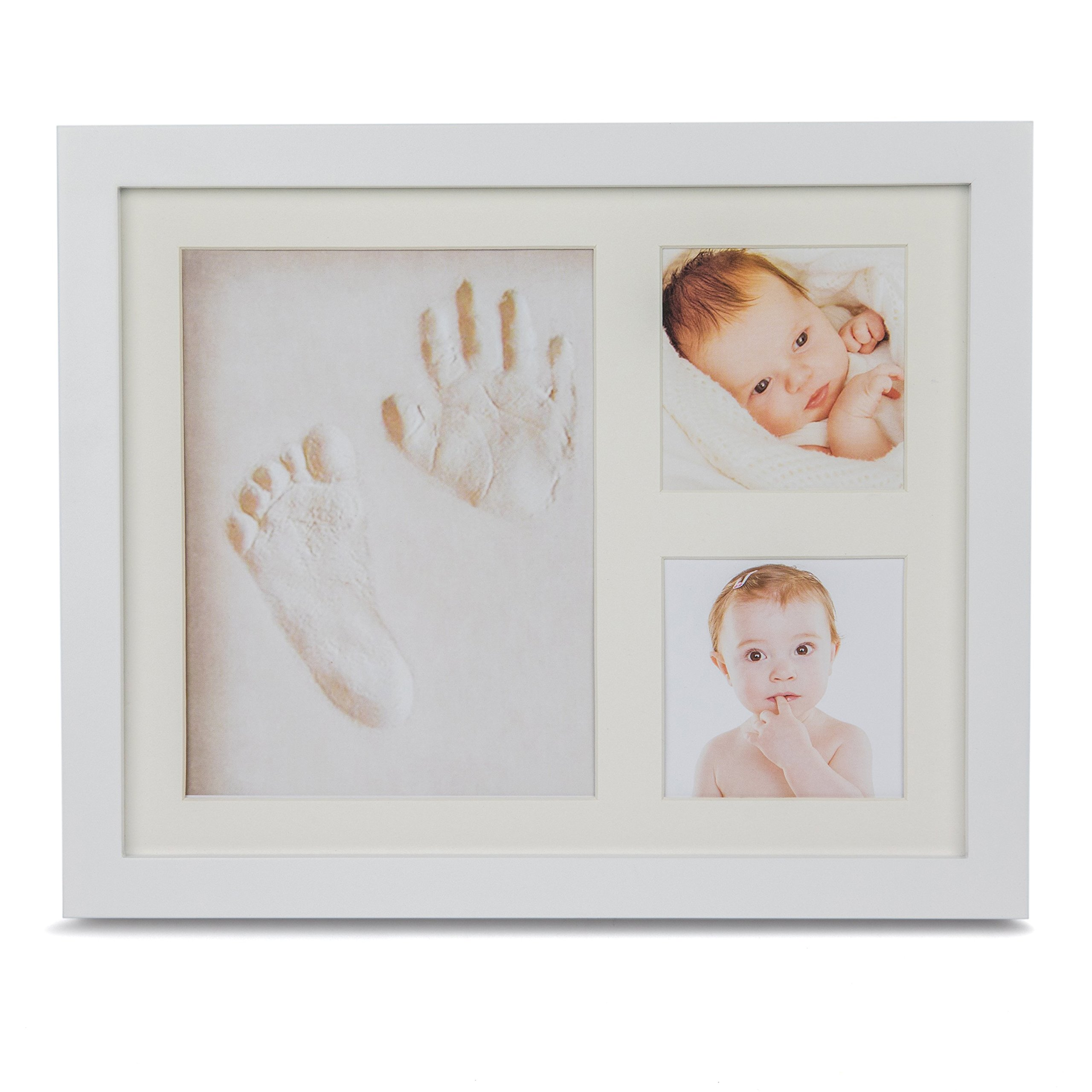 Premium Baby Handprint Kit by Forever Tenille - Newborn Picture Frame with Non-Toxic Clay - Personalized Keepsake Footprint Kit - Luxury Baby Shower Gift for Boys and Girls