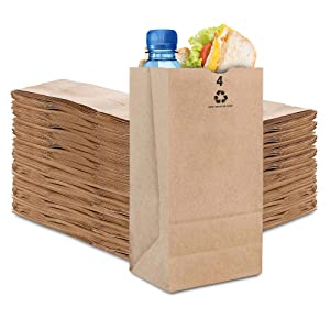 Stock Your Home 4 Lb Kraft Brown Paper Bags (250 Count) - Small Kraft Brown Paper Bags for Packing Lunch - Blank Kraft Brown Paper Bags for Arts & Crafts Projects