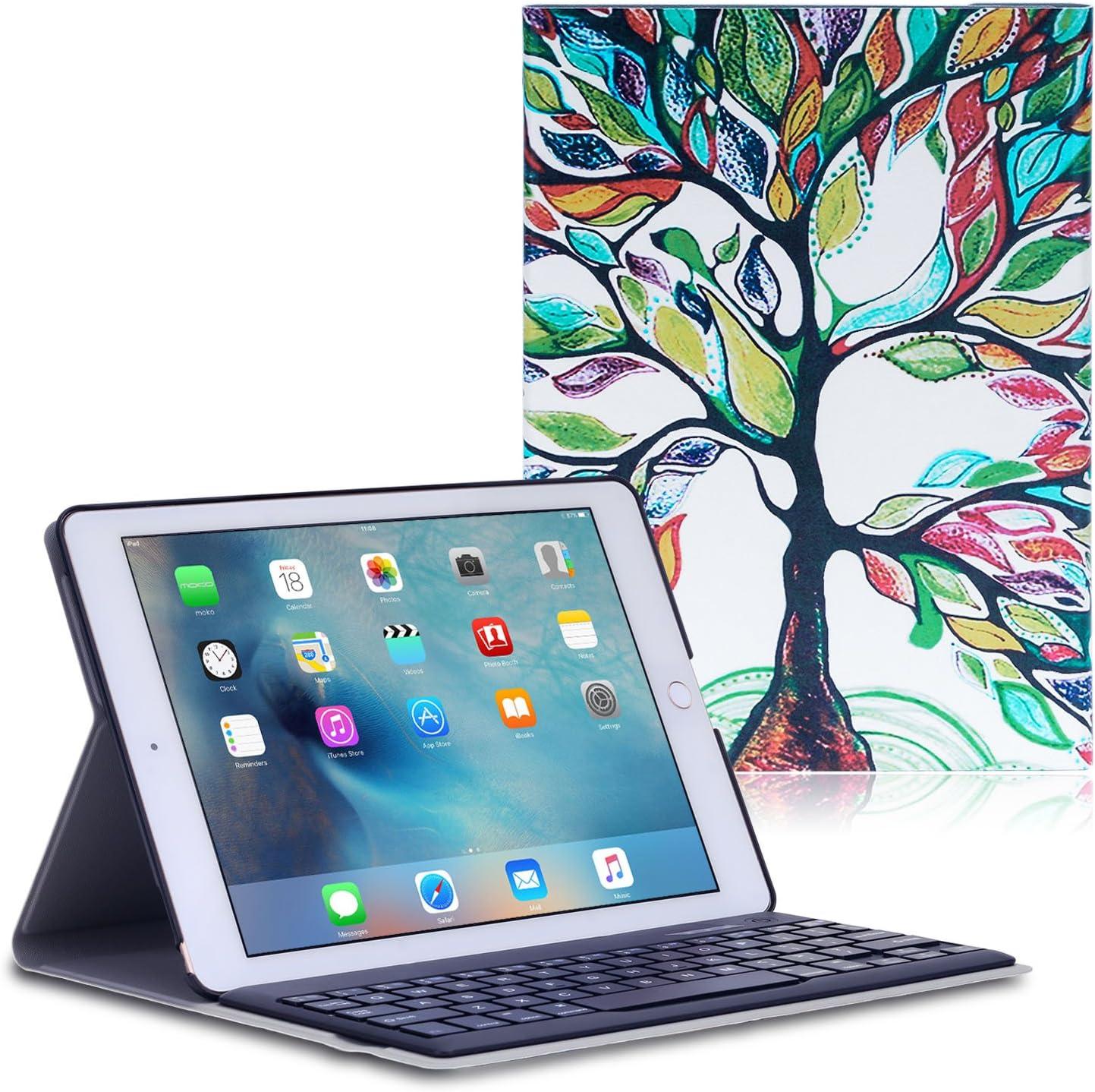 MoKo iPad Pro 9.7 Funda - Wireless Bluetooth Keyboard Case con PU Cuero Teclado Inalánbrico QWERTY Layout para Apple iPad Pro 9.7 Pulgadas 2016 Tableta, Álbo de la Suerte