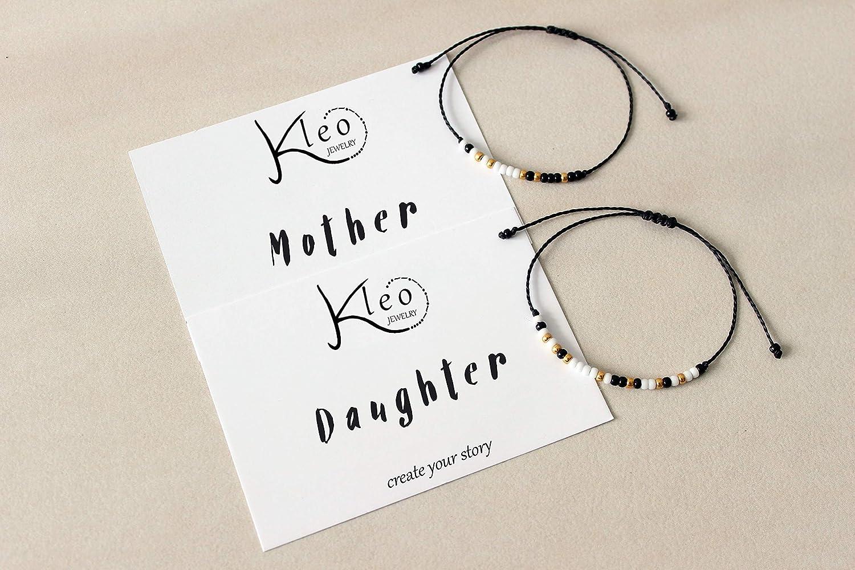 Morse Code Bracelet Mother Daughter  Cord Dainty  Gift Set of 2