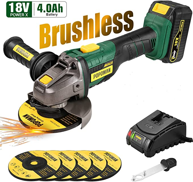 Amoladora Angular 18V Brushless, POPOMAN