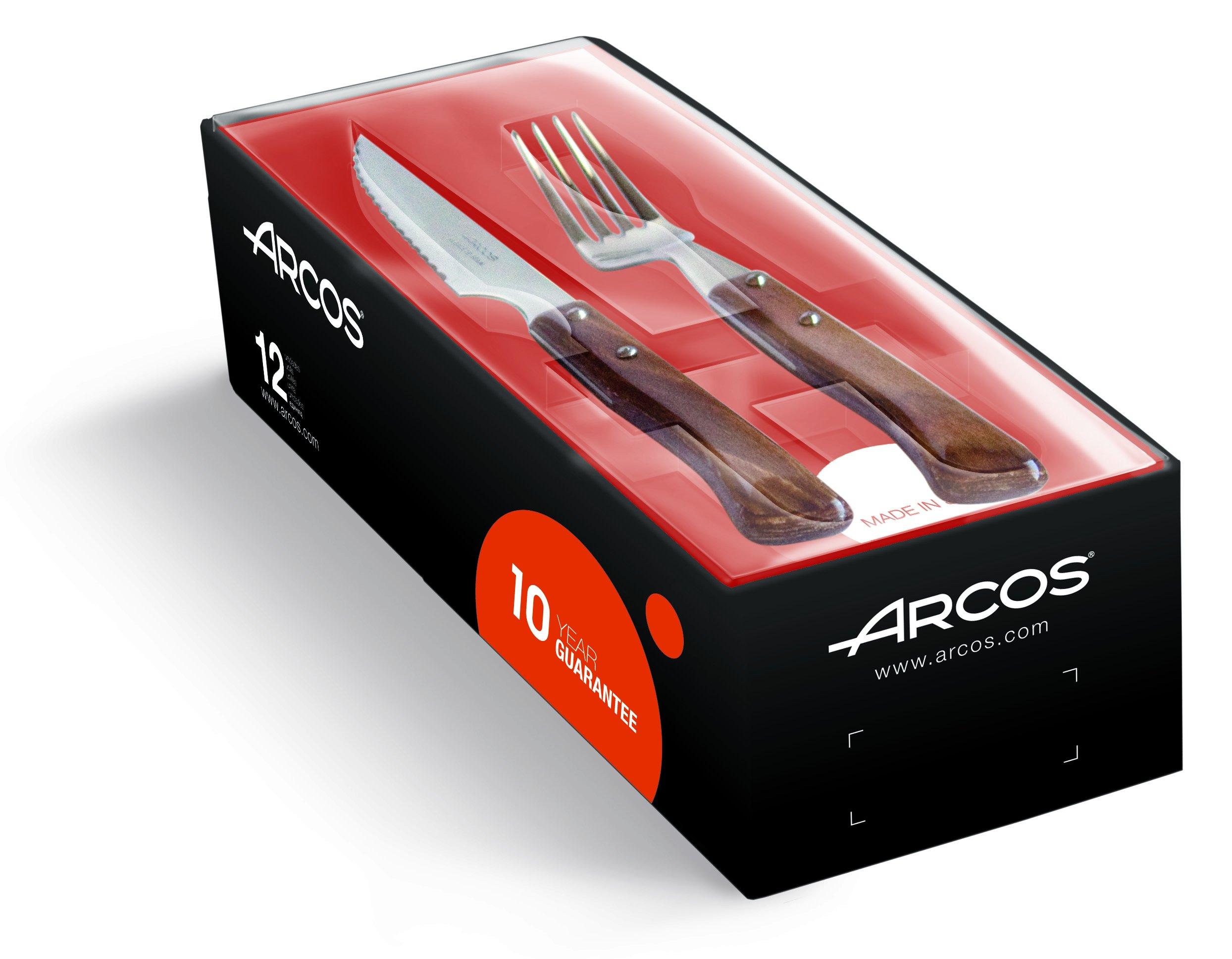 Arcos 377700 - Juego de cuchillo chuletero y tenedor, 110 mm (12pzs) product