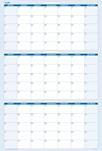 """90-Day Quarterly Dry and Wet Erasable Calendars by PlanetSafe Calendars. Best in It's Class. Non-ghosting, Non Staining (Vertical 36"""" x 24"""", Sky Blue)"""