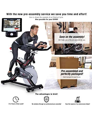 Sportstech Exercise Bike SX400 -German Quality Brand- Video Events & Multiplayer App, 22KG flywheel, pulse belt compatible-Speedbike with silent belt drive-Ergometer up to 150Kg, eBook