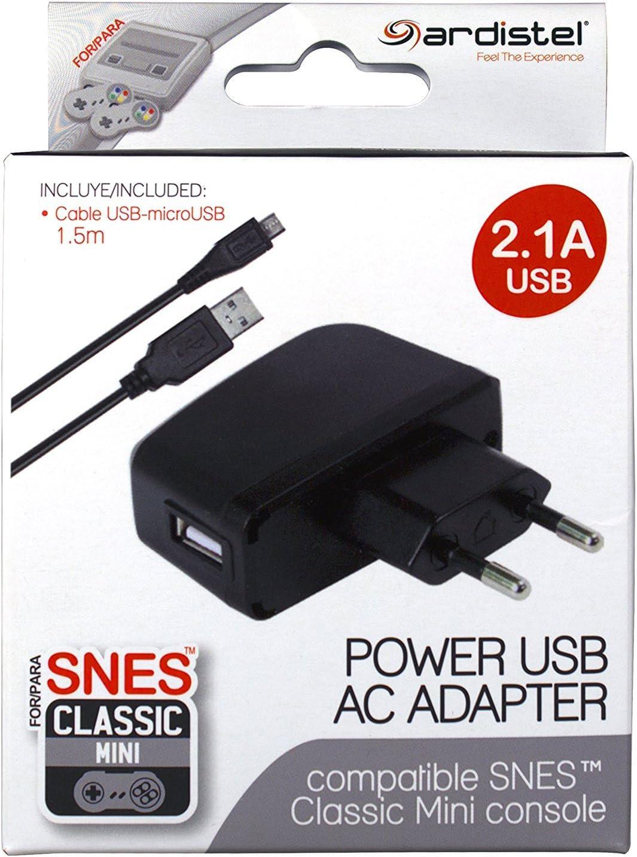 Ardistel - Adaptador Corriente USB 2.1A NES/SNES Mini (Nintendo ...
