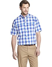 G.H. Bass & Co. Mens Explorer Short Sleeve Button Down Fishing Shirt Plaid Button Pocket Spread Short Sleeve Button Down Shirt - Blue - Medium