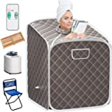 Giantex Portable Steam Sauna Spa 2L Folding Private Sauna Tent W/Chair Foot, Massage Roller, Absorbent Pad,9 Adjustable…